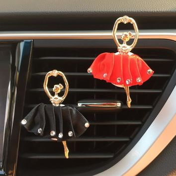 Cute Rhinestone Diamond Ballet Girl Auto Air Conditioner Vent Perfume Clip Cartoon Decoration Air Freshener Ornament Car Styling