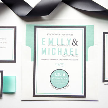 Mint Wedding Invitation - DEPOSIT
