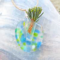 Air Plant  Necklace Wearable Planter Garden Vase Pendant Fused Glass