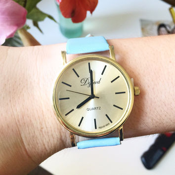 Retro Baby Blue Leather Watch