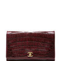 Chanel Burgundy Caiman Shoulder Bag by What Goes Around Comes Around - Moda Operandi