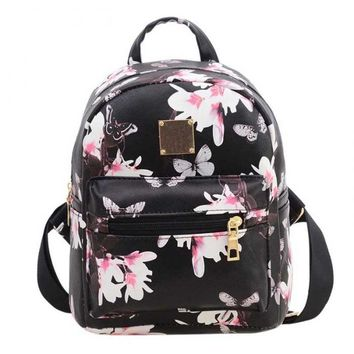 Women Butterfly Flower Small Backpack Printed  Leather Lady Fashion