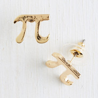 Quirky Cutie Pi Earrings in Gold by ModCloth