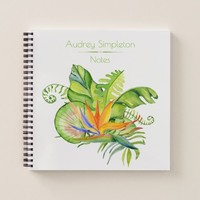 Watercolor Tropical Flowers Leaves Square | Notebook