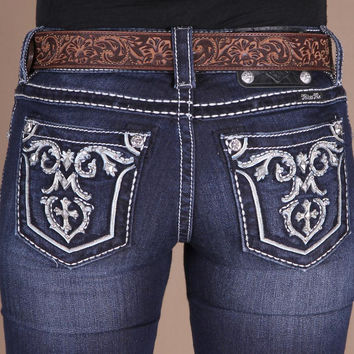 "Miss Me-""white Leather Empire Center Cross"" Boot Cut"