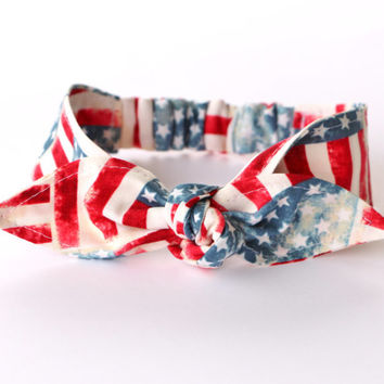 Baby Toddler Pre-tied Head Scarf American Flag Fourth of July Memorial Day Baby Headband Hair Accessory photo prop Rockabilly
