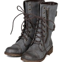 Nature Breeze AC08 Women Distress Zipper Lace Up Military Mid Calf Boot - Brown (Size: 8.0)