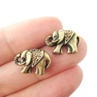 Classic Elephant Shaped Stud Earrings in Brass with Rhinestones | Animal Jewelry