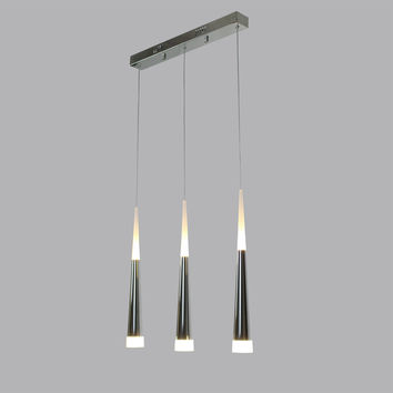 Modern Stainless Steel LED Pendant Light Max 21W with 3 Lights Plating Finish