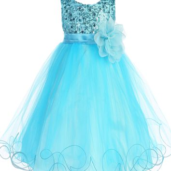 Aqua Blue Sequined Bodice Dress with Lettuce Hem Tulle Skirt Girls 2T-14