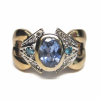 14K 1.3 Ct Natural Cornflower Sapphire and Blue Diamond Ring Size 5