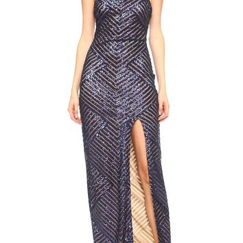 Teeze Me | Halter Spaghetti Strap Chevron Sequin Mesh Long Formal Dress  | Navy