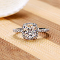 CZ Square Bezel Cocktail Ring