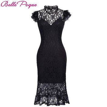 Belle Poque Ladies Summer robe Vintage Bodycon Black Lace Gothic Dress 2017 Women Retro Ruffle Sexy Mermaid Cocktail Party Dress