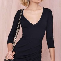 Nasty Gal Deep Down Dress - Black