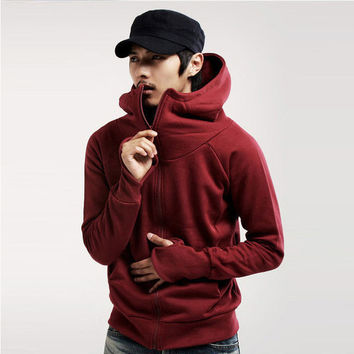 Men Casual Zip-Up Collar Hoodie