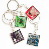 Men's keychain - recycled circuit board - geeky gift - techie IT - square, resin