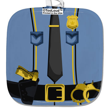 Police Blue-Gold AOP White Fabric Pot Holder Hot Pad All Over Print