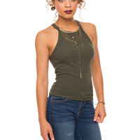 Caitlin Ribbed Tank Top - Olive