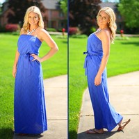 What Meets the Eye-let Maxi Dress in Periwinkle