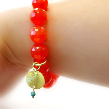 Tangerine Bracelet Gold Vermeil Jewelry Gemstone Jewellery Neon Orange Fluorescent Bright Agate Statement Fashion Charm B-312 313