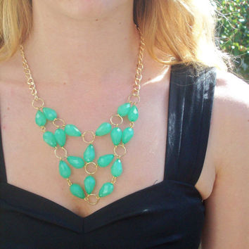 Mint Green Statement Bib Necklace
