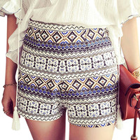 Culotte Shorts In Festival Print With Belt