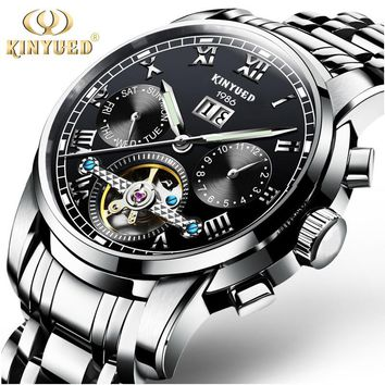 kinyued Watches Men Automatic Mechanical Watch Wrist Gold Skeleton Watch Men Wristwatch Waterproof Mens Watch relogio masculino