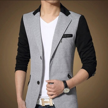2015 New Arrivals Men's Fashion Colors Splicing Slim Fit Suit Male Dress Blazers [8833583308]
