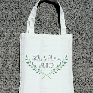 Laurel Leaf Wreath Personalized Totes - Wedding Welcome Tote Bag