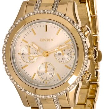 DKNY Glitz Chronograph Silver Dial Gold Toned Steel Women Watch NY8707