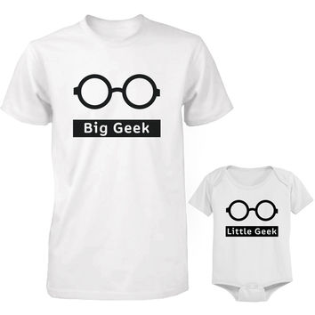 Funny Big Geek Little Geek Matching Dad Shirt and Baby Onesuit