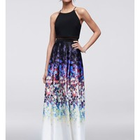 Faux Two-Piece Halter Dress with Floral Skirt - Davids Bridal