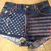 Vintage Levi's Custom Distressed High Waisted American Flag Denim Shorts Sz 6