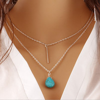 Multi layer Drop Turquoise Necklace
