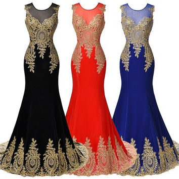 Sleeveless Golden Appliques Ball Gown Evening Prom Party Dress [9221260740]