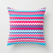 Red blue and white waves pattern Throw Pillow by laly_sb