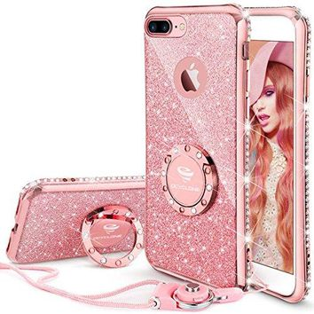 iPhone 7 Plus/ 8 Plus Case, Case with Kickstand, Bling Diamond Bumper Stand Protective Case