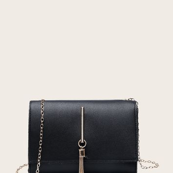 Tassel Decor Flap Chain Crossbody Bag