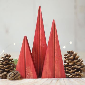 Red Holiday Decor, Red Wooden Christmas Trees