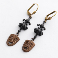 Tragedy and Comedy Earrings, Drama Theme, Happy Sad Masks, Gift for Actress, Theater Mask Faces, Smile Frown Masks, Theater Lover Gift Drama