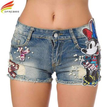 Women Short Jeans Embroidered Flare Denim Shorts High Waisted Jeans Shorts Sequin Cartoon Shorts