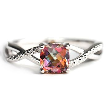 Sterling Silver Cushion Cut Mystic Sunrise Topaz and Diamond Accent Ring