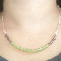 Smokey Quartz Peridot Necklace