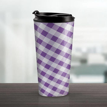 Purple Gingham Travel Mug - Pattern White Purple Gingham - 15oz Stainless Steel - Made to Order