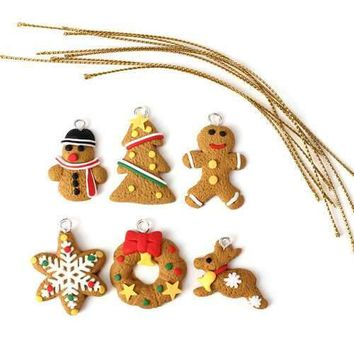 6 pcs Gold Polymer Clay Decoration Christmas Tree Ornament