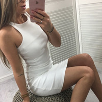 Sexy Skirt Strapless Cotton One Piece Dress [11577849615]