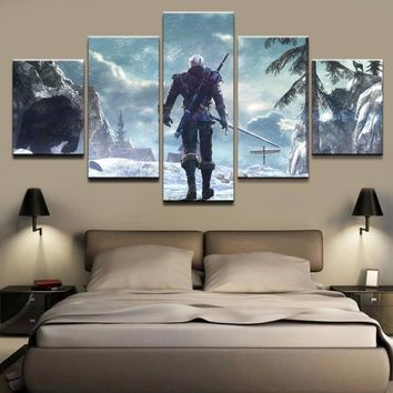 Modern Canvas Art Painting For Living Room Print Wall Picture 5 Panel 4Geralt of Rivia The Witcher 3 Wild Hunt Poster Home Decor