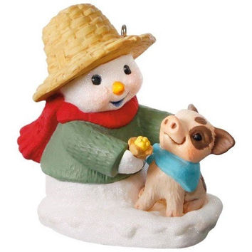 Snow Buddies Snowman and Pig Ornament