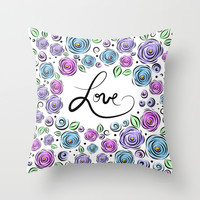 Love Blooms - Lavender Throw Pillow by Lisa Argyropoulos